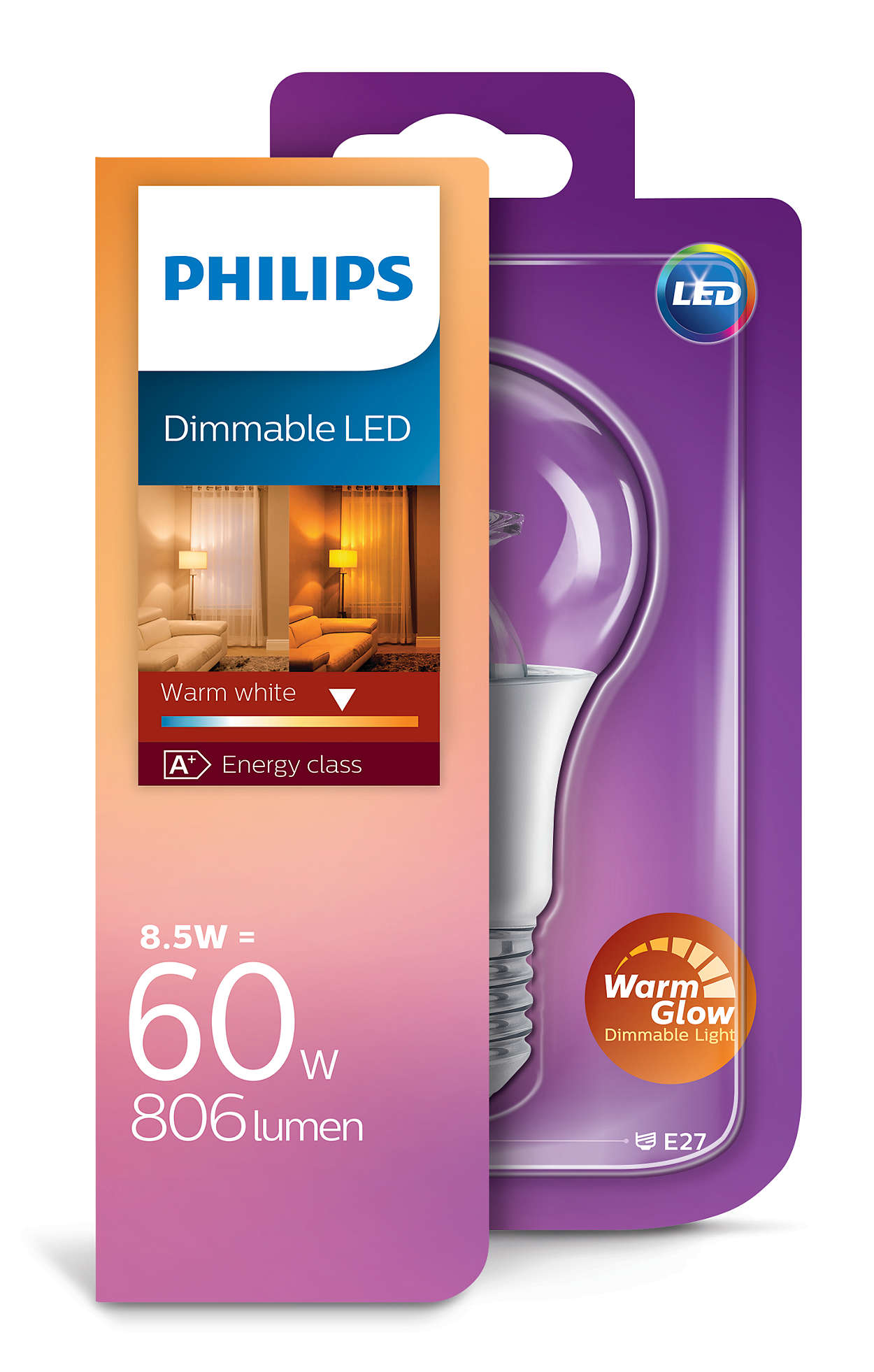 Philips LED 9W Bulb (60W) E27 Sparkling Warm White 806 ...