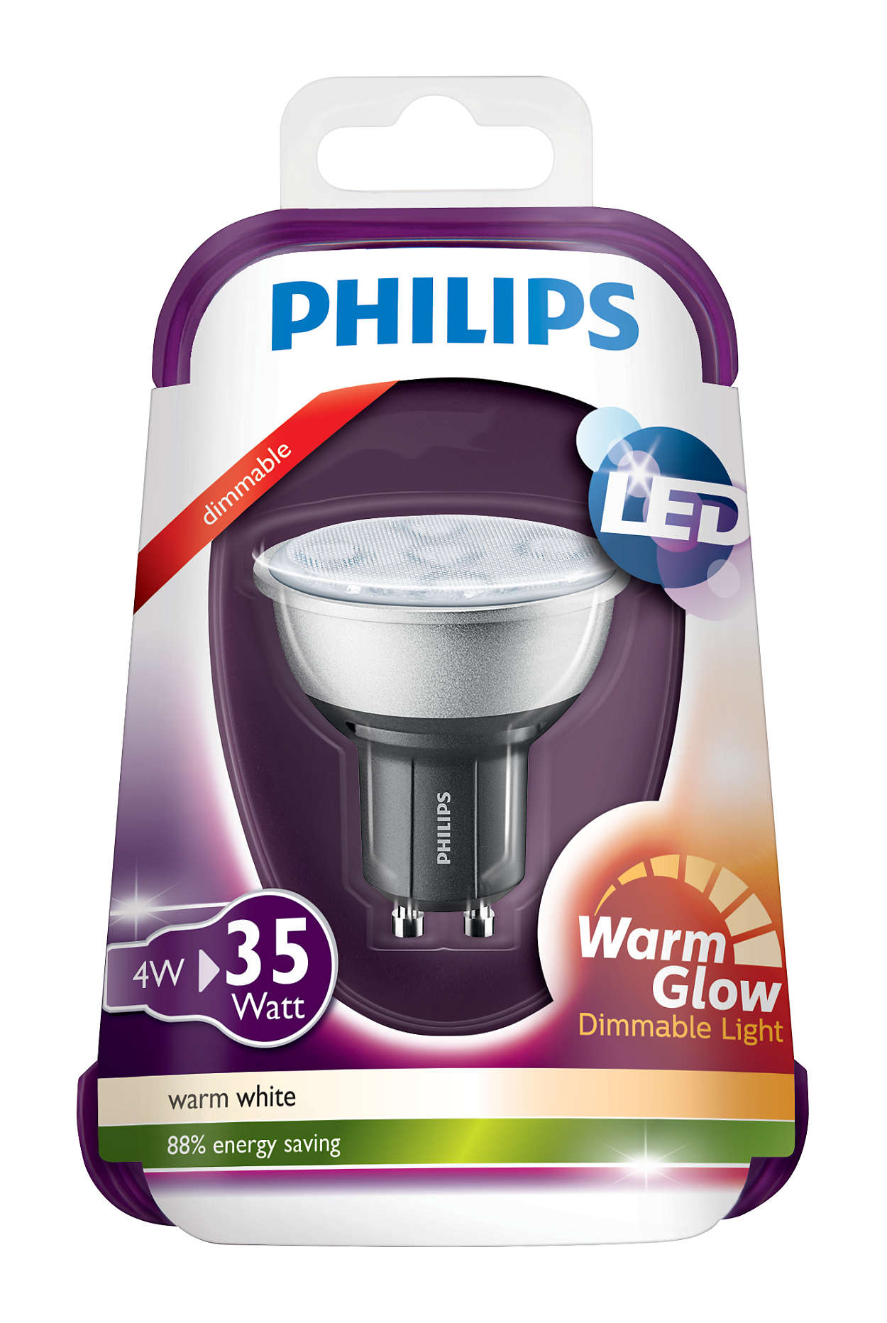 philips led spot bulb 4w 35w gu10 dimmable warm glow ebay. Black Bedroom Furniture Sets. Home Design Ideas